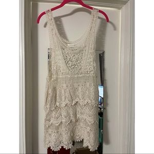 Annianna Cream Lace Eyelet Top Size S/M